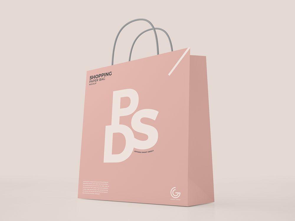 Download Free Modern Shopping Paper Bag Mockup Bag Mockup Mockup Psd Shopping Bag Design