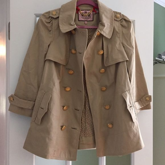 Juicy couture rain coat! Small Worn twice. Juicy couture rain coat beige Juicy Couture Jackets & Coats