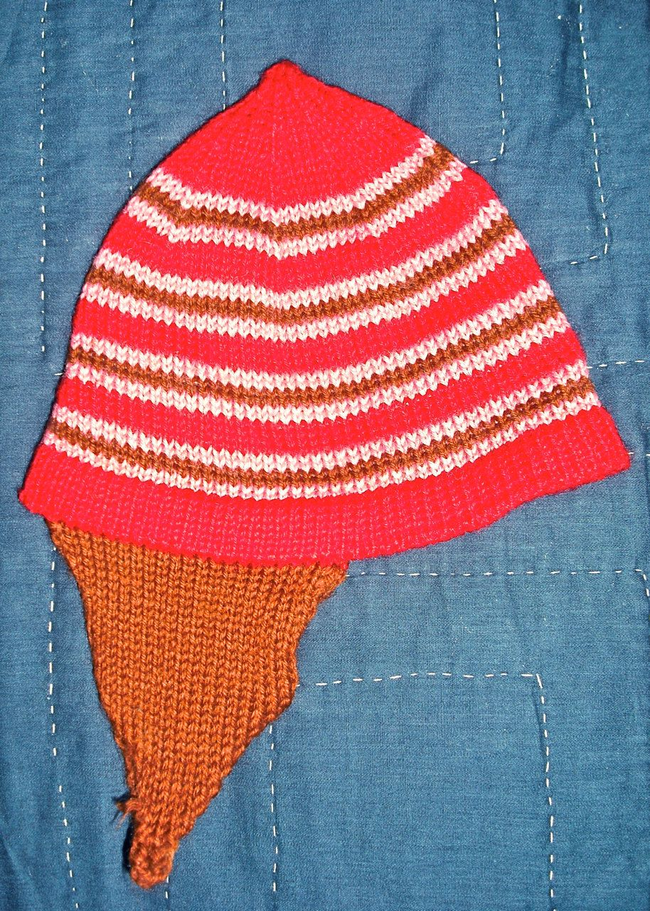 98108ea87 Vintage Knit Baby Hat Pink and Red Stripes - Hand Made. $20.00, via ...