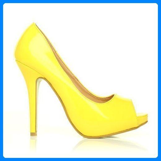 High Heels Stöckelschuhe Tia gelb Lackleder PU Leder Stilettos sehr hoch mit Plateau Peeptoes - Gelb Lackleder, Synthetik, 6 UK/39 EU