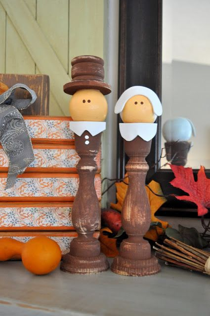 Candlestick pilgrims sassy sanctuary thanksgiving for Wooden candlesticks for crafts