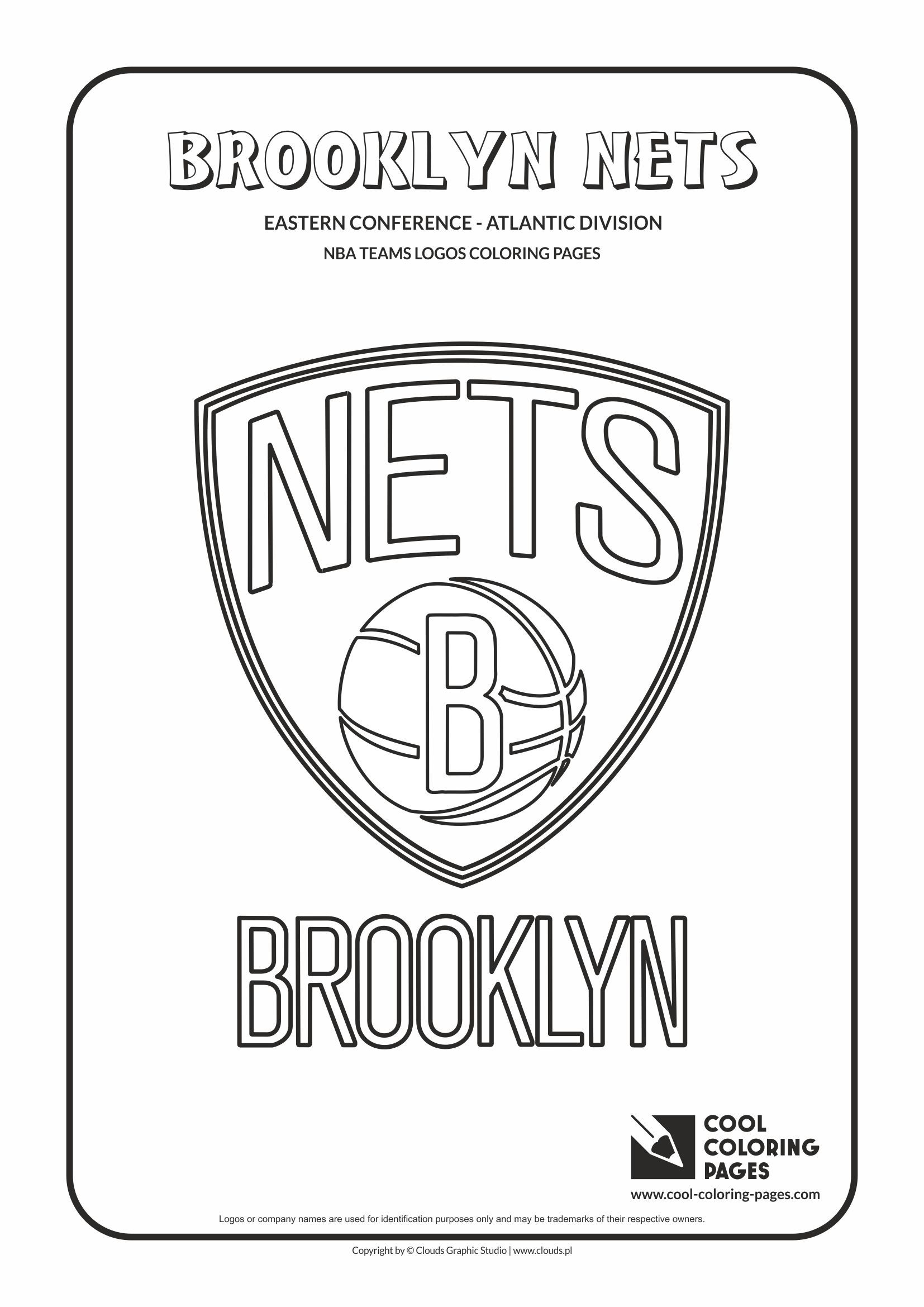 coloring pages nba - cool coloring pages nba teams logos brooklyn nets logo