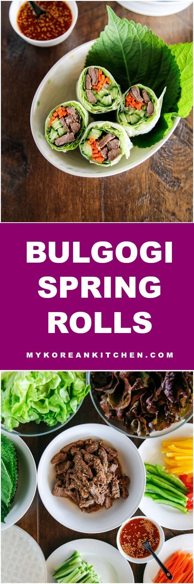 Bulgogi spring rolls with sweet ssamjang sauce ...