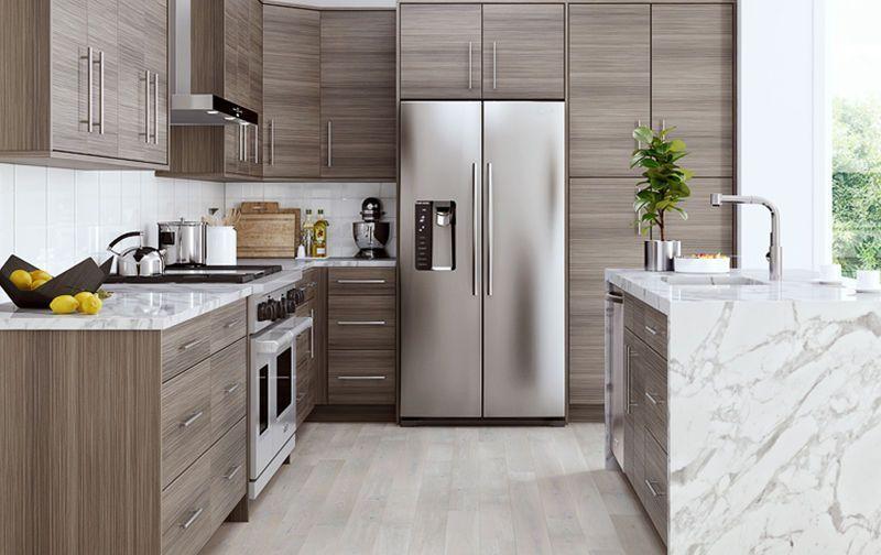 Frameless Rta 10x10 Contemporary Madrid Platinum Melamine Kitchen Cabinets Gray Ebay With