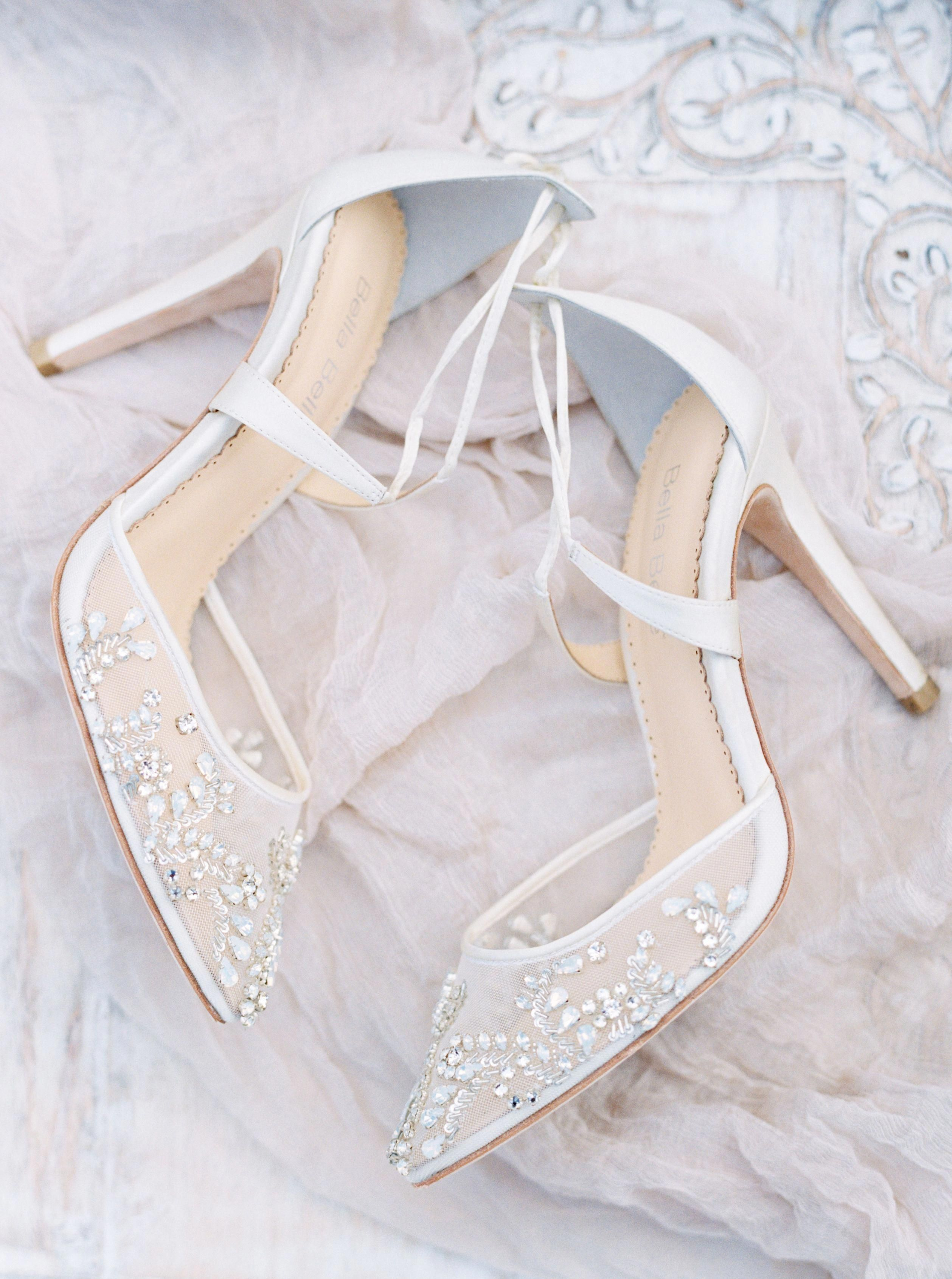 b59d2d1e2f7dc5 Hand beaded Florence wedding heel with cross ankle strap by Bella Belle. Photography  by Jenna McElroy  amazingbeddings