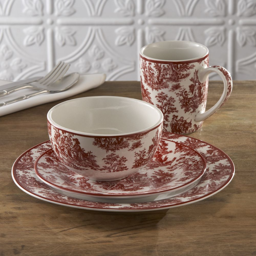 Waverly Country Life 16-piece Dinnerware Set | Overstock.com Shopping - The Best & Waverly Country Life 16-piece Dinnerware Set | Overstock.com ...