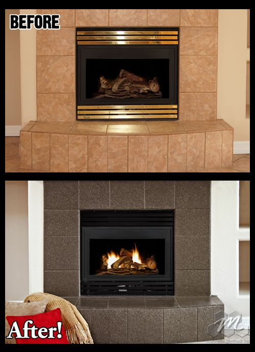 Fireplace Tile Refinished By Miracle Method This Was In Great Shape But The Homeowner Wanted A Color Change
