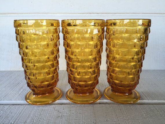 """Amber tall 8 Panel Heavy Glass Vintage Drinking Glasses Set of 2 MCM 6 1//8/"""" tall"""