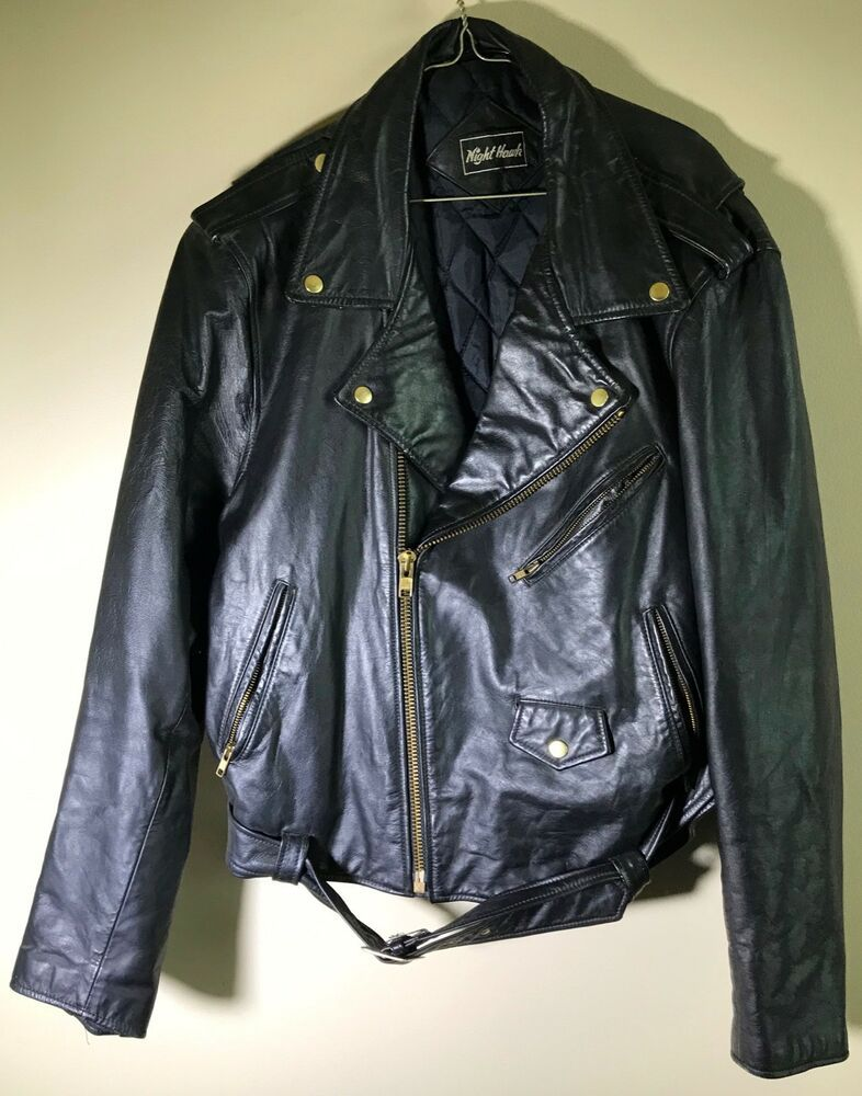 Black Leather Motorcycle Biker Jacket Night Hawk 46 Reg Euc Nighthawk Motorcycle Jackets Leather Jacket Mens Black Leather
