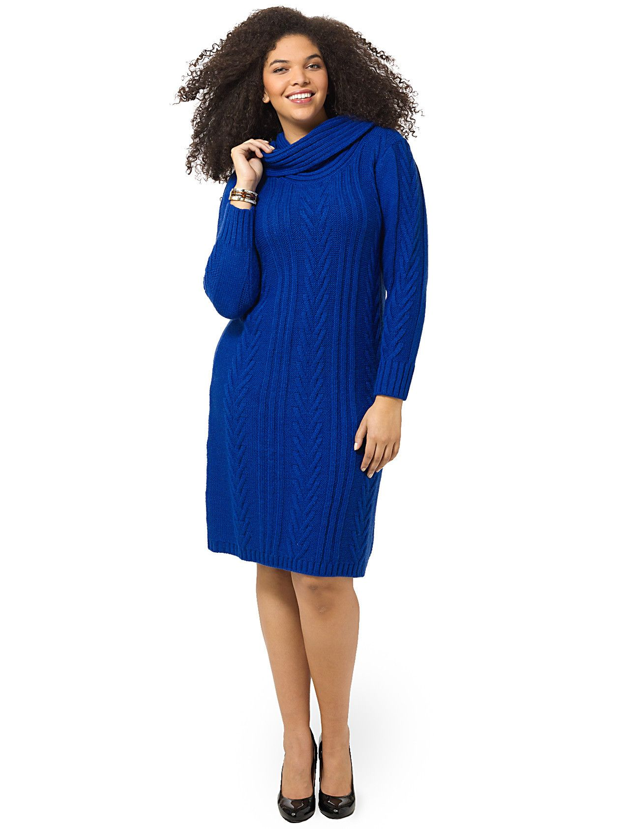 Lima | Cable-Knit Sweater Dress In Royal Blue | Gwynnie Bee ...