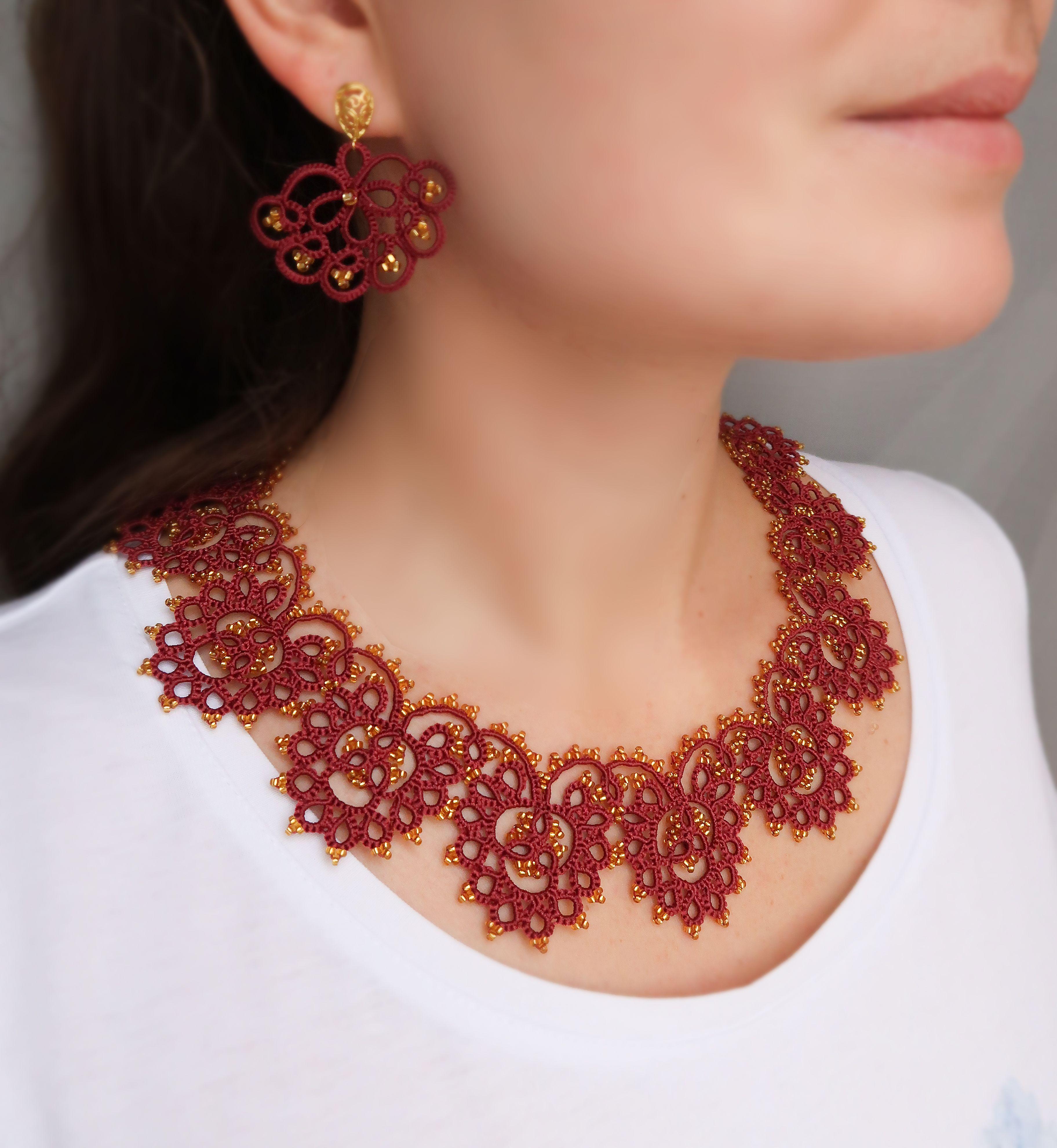 necklace lace earrings frrivolite Set