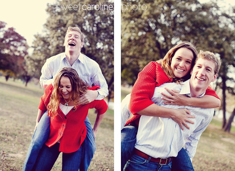 couple giving each other a piggy back ride at Butler park during Austin engagement portraits