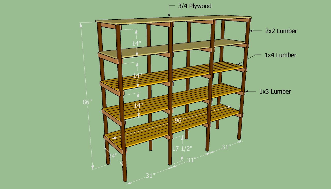 Building food storage plan building storage shelves for Wood craft shelves