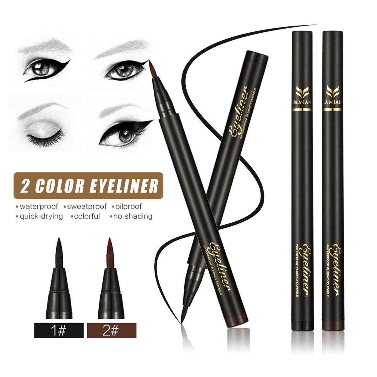JewelryWe Waterproof Precision Liquid Felt Tip Eyeliner