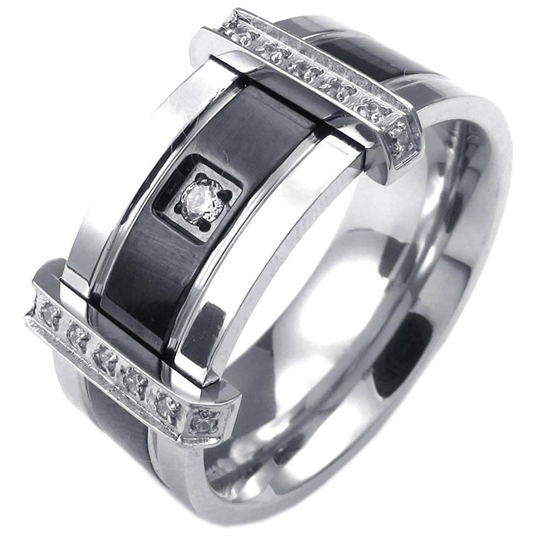 KONOV Mens Cubic Zirconia Stainless Steel Ring Charm Elegant