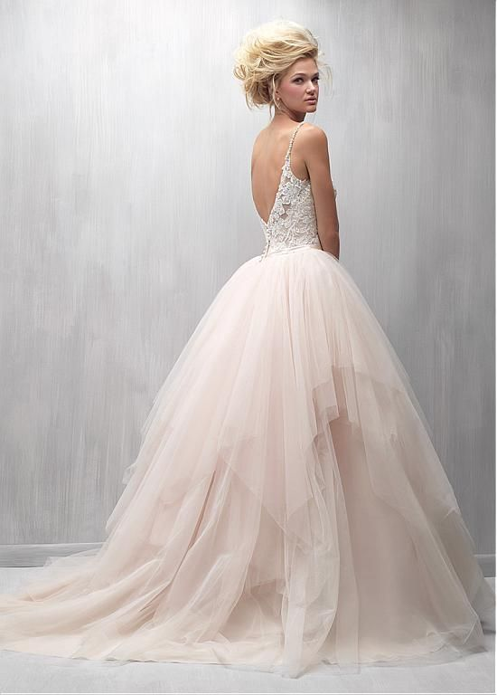 c45cfaff3480 Romantic Tulle Spaghetti Straps Neckline Ball Gown Wedding Dresses With Lace  Appliques
