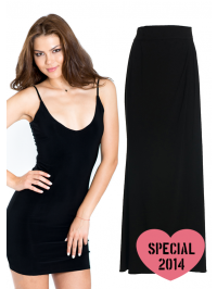 Special Christmas Combo in a beautiful present box. Little black sexy dress + wrap long skirt - 2 in 1 combo. You can wear it together as on the pictures or separate as short dress and skirt.  1. Short sexy dress in black / Italian luxury fabric. 2. Long wrap skirt / same fabric as the dress. 3. Packed in a beautiful white present box with Lilly Vanilly Logo.