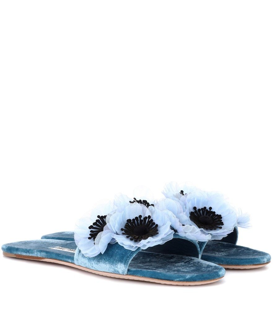 Miu Miu Floral embellished velvet slides Cheap Sale Collections Clearance Fast Delivery Best Store To Get Cheap Price Sale Perfect rpdWjEh