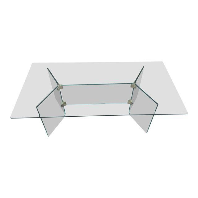 Image of Pace glass coffee table with brass brackets