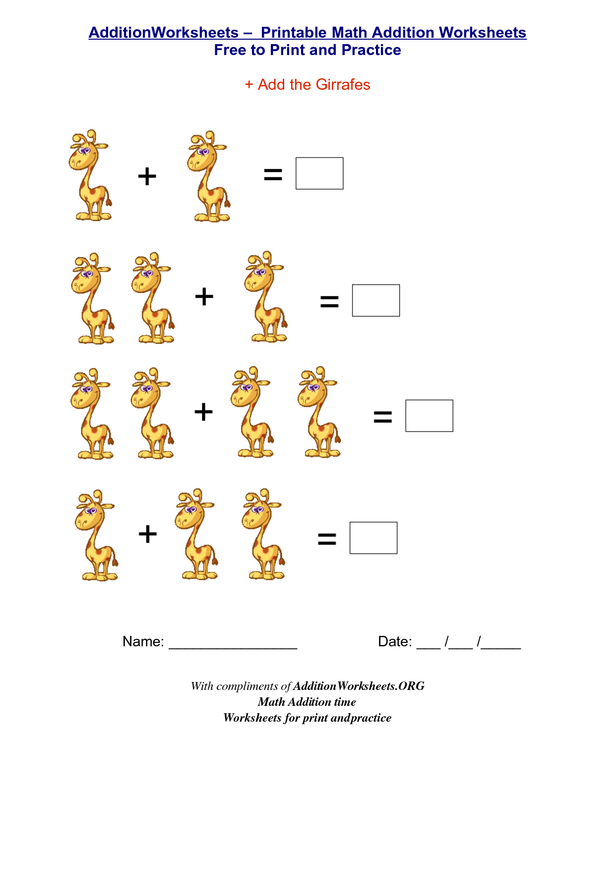 Simple Addition Worksheets To Learning Simple Addition