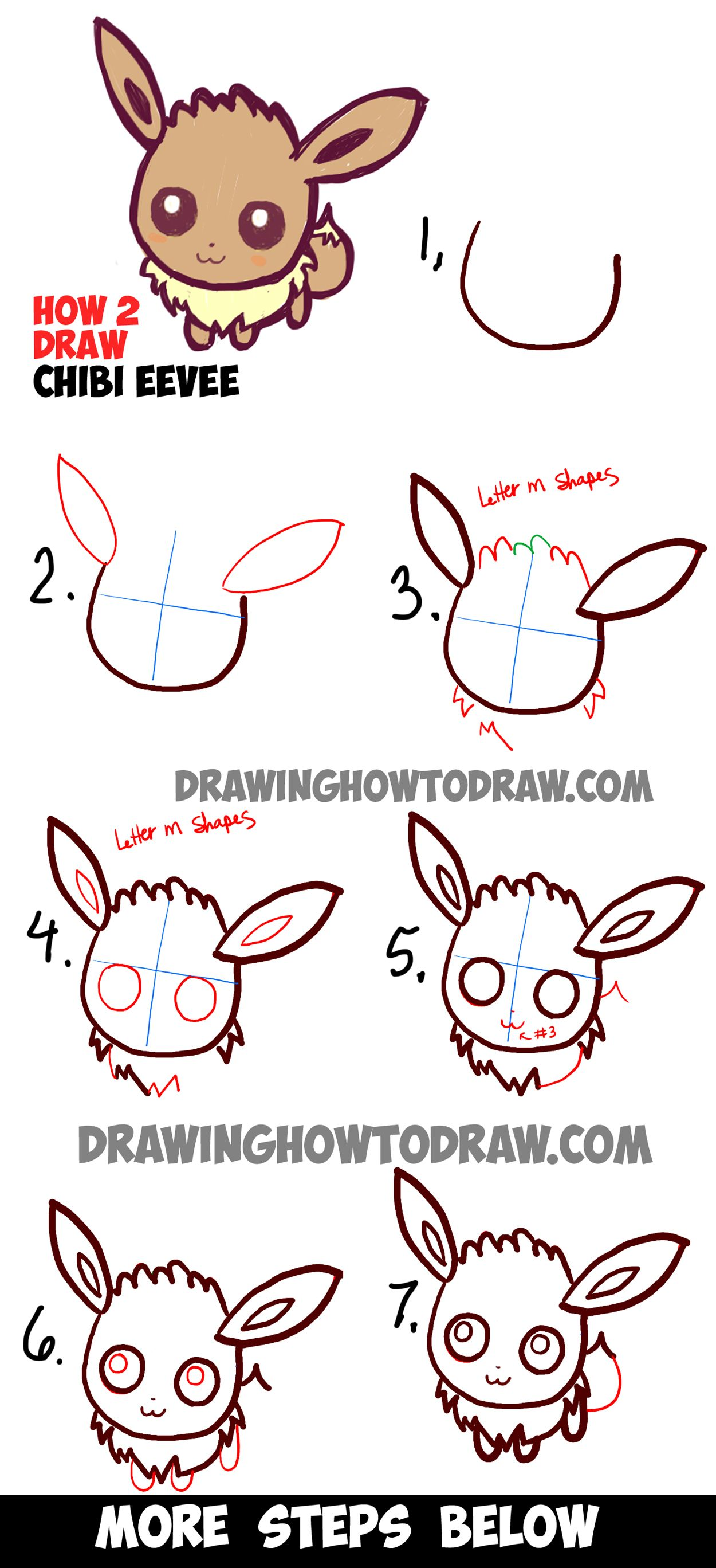 How To Draw Cute Baby Chibi Eevee From Pokemon Easy Step By Step Drawing Tutorial How To Draw Step By Step Drawing Tutorials Drawing Tutorial Pokemon Kawaii Drawings