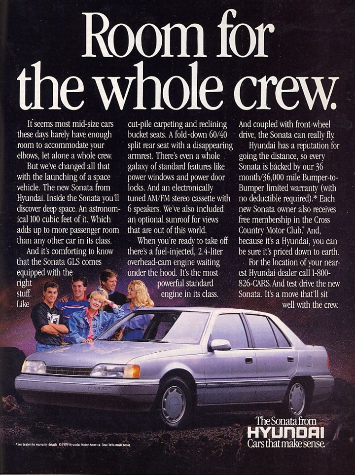 This vintage 1989 #Hyundai #Sonata ad explains the how the spacious Sonata can fit the whole family.