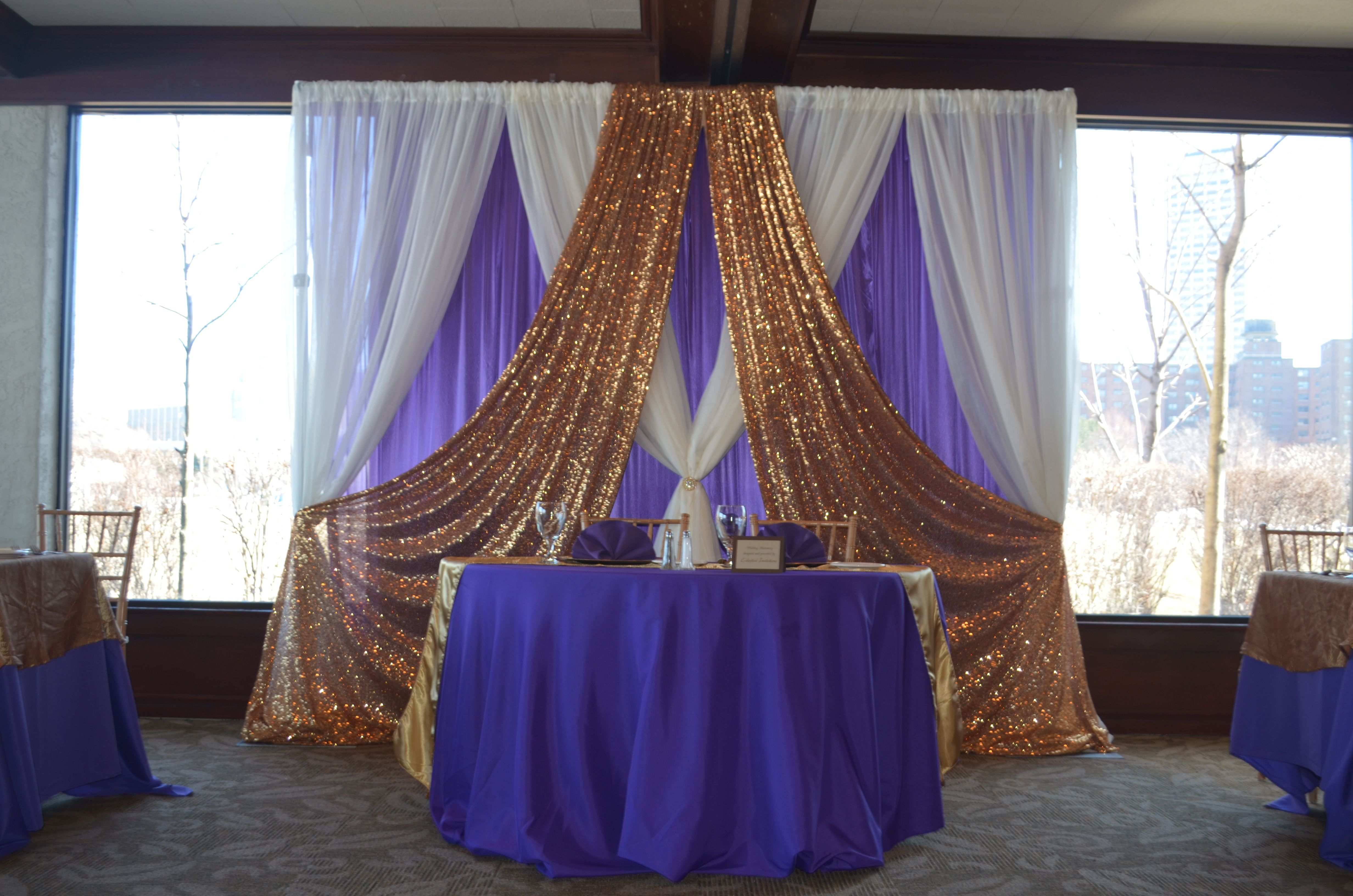 Purple Gold White Wedding Draping Backdrop Sweetheart Table