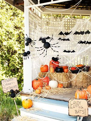 Giant Spiders made of foam balls and chenille stems, these creepy - halloween party ideas for kids