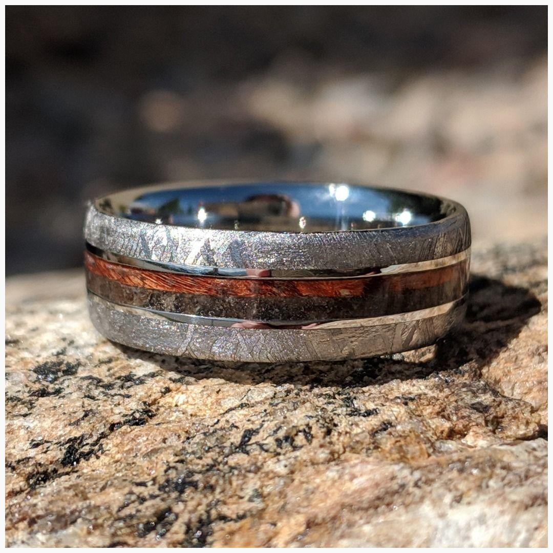 8mm Dinosaur Bone and Gibeon Meteorite Ring Box Elder Burl
