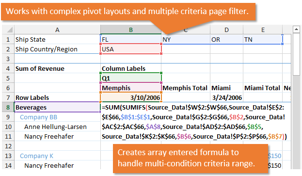 Convert Pivot Table To Sumifs With Complex Layout Multiple Criteria
