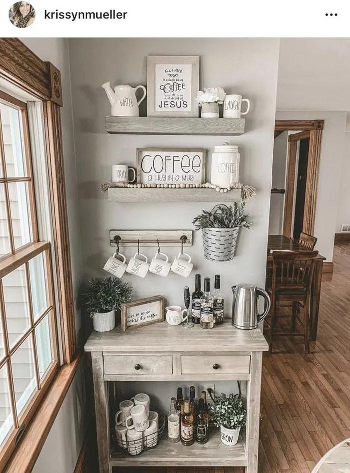135 Pretty Farmhouse Wall Decor Ideas You Must Have Coffee Bar Home Home Coffee Bar Home Decor