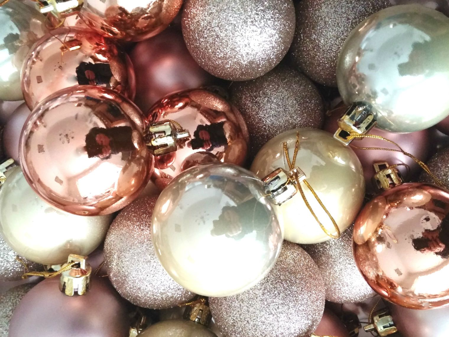 40 champagne rose gold copper glitter christmas baubles for Decoration rose gold