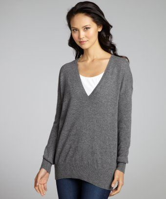 Autumn Cashmere : bankers grey cashmere v-neck boyfriend sweater ...