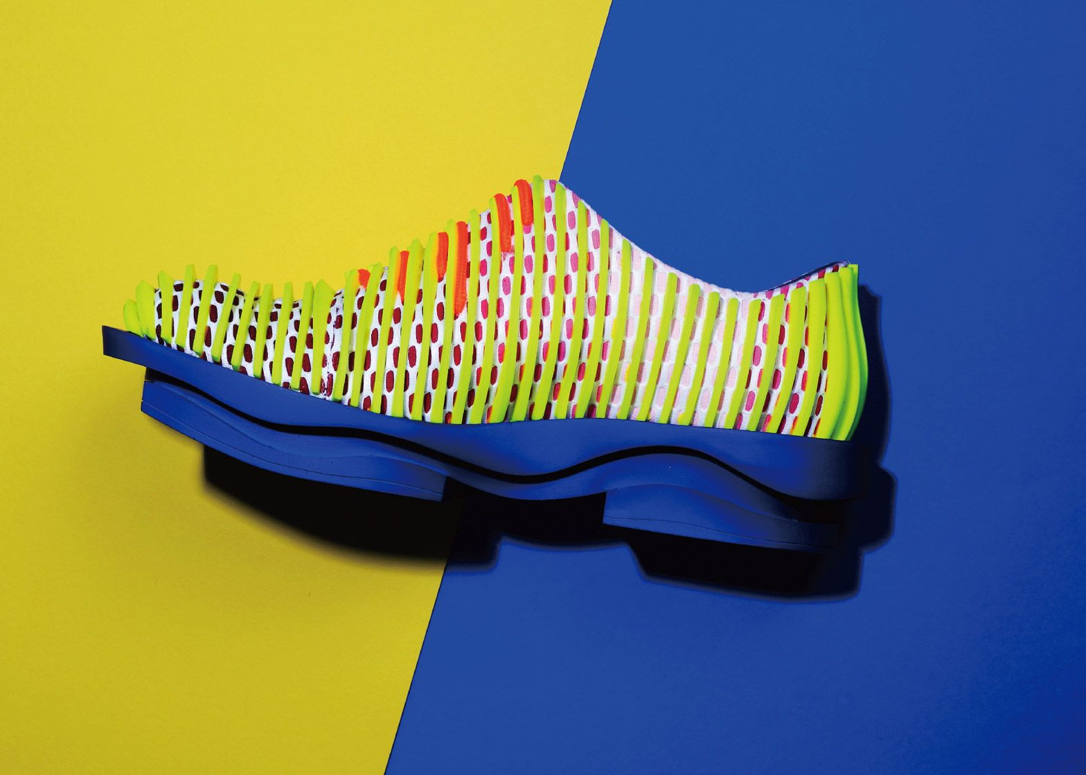 Chinese footwear designer Chengxu Tian's Layering Movement collection of footwear features raised, stripy patterns created by injection moulding