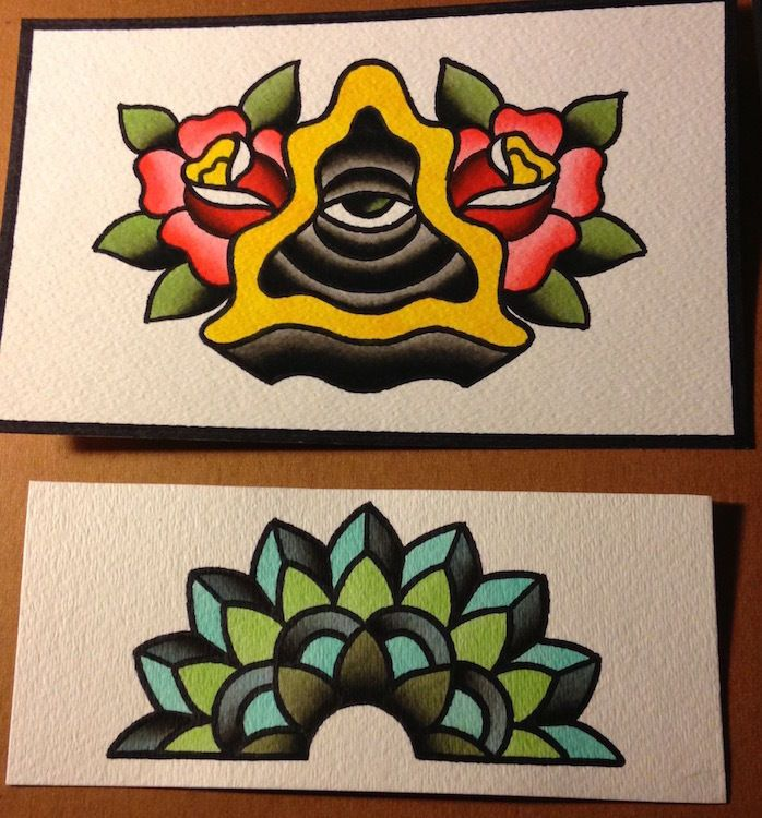 Lot Of 2 Traditional Old School Tattoo Flash Watercolor Paintings