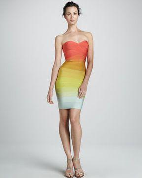a2dcefb2e54 Herve Leger Strapless Rainbow Ombre Dress
