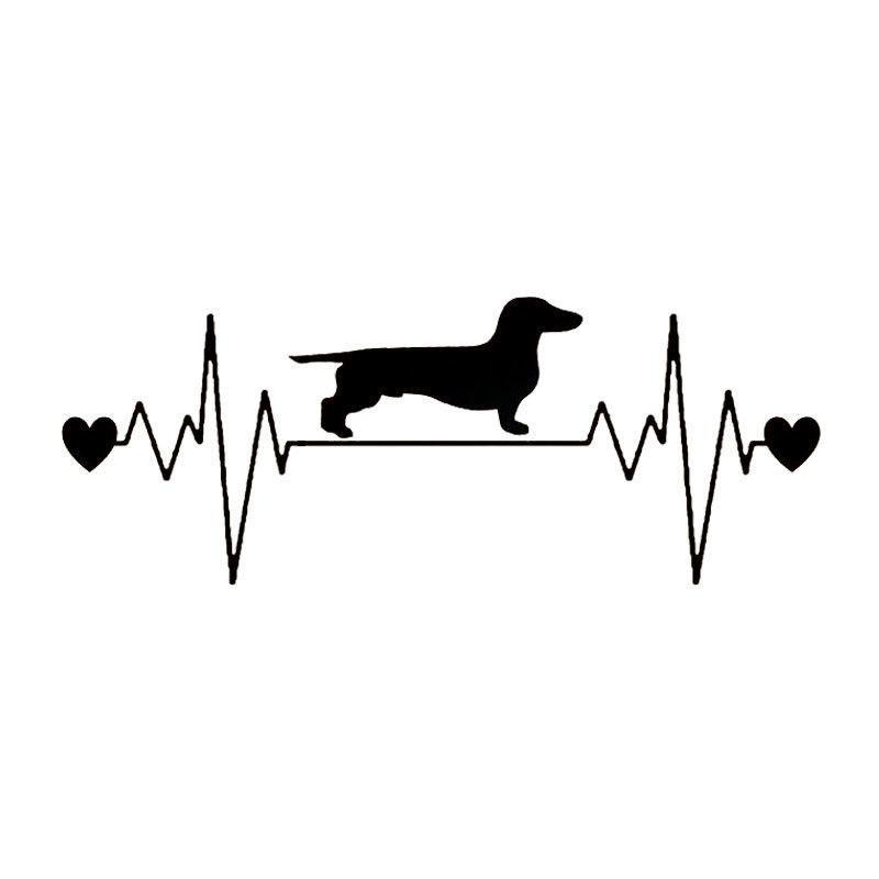 Download Dachshund Heartbeat Car Sticker | Products | Dachshund ...
