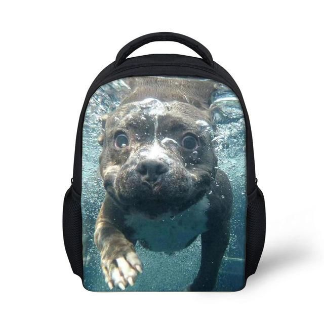 6127307eae5 Pit Bull Dog Kids Boys and Girls School Backpack Bags Wolf Printing ...