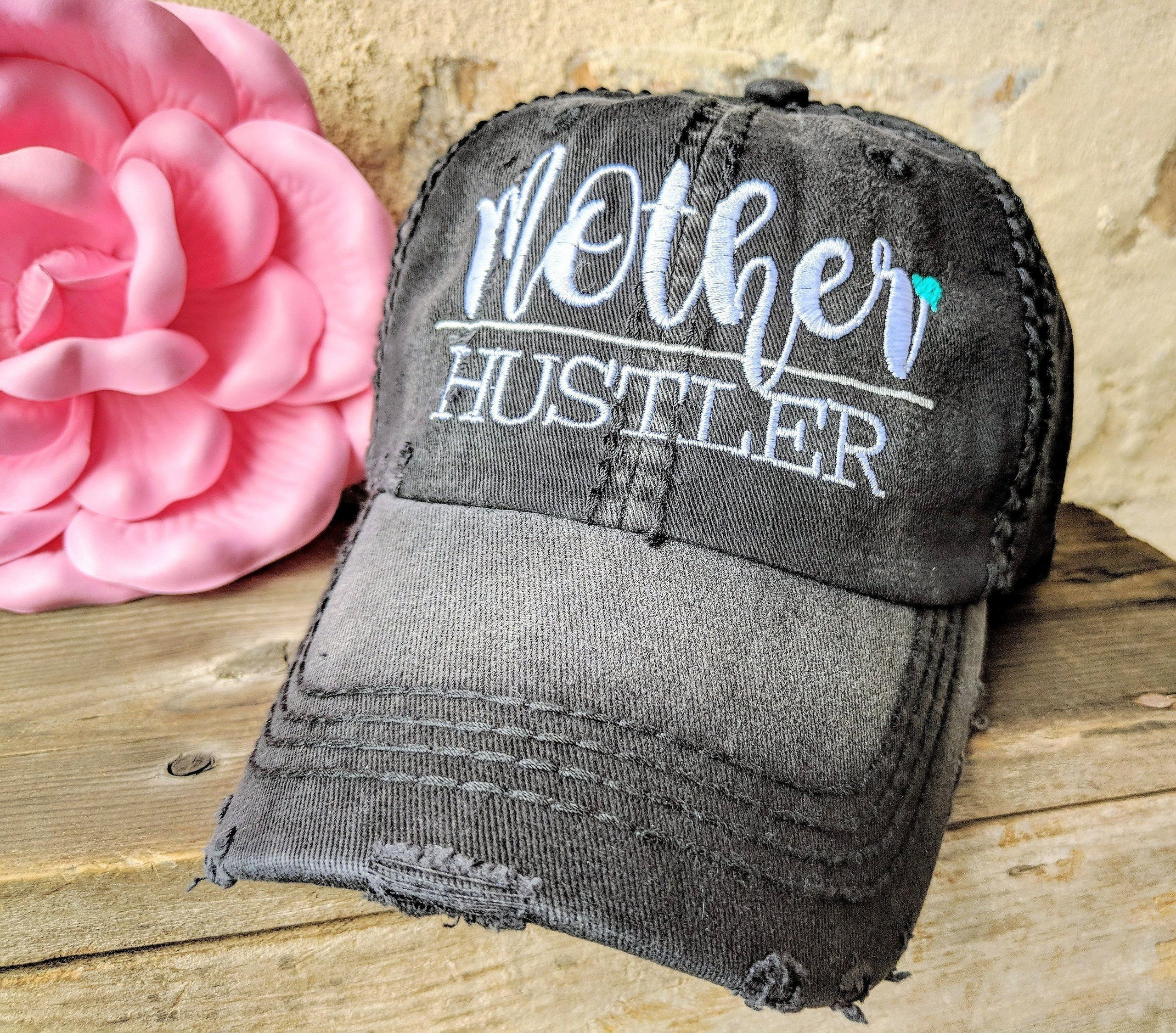 Girl Mama   Heather Black Baseball Cap MAMA HUSTLE Boy Mama Mother/'s Day Gift Hats for Moms Women/'s Baseball Cap