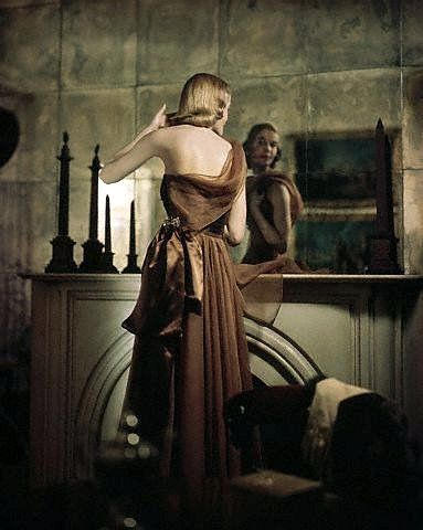 One-shoulder brown chiffon and satin evening dress by Omar Kiam, photo by Genevieve Naylor, 1949 New York