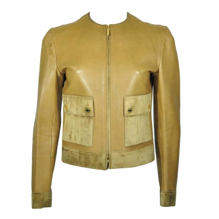 gucci tom fird 90s leather and suede kaki jacket