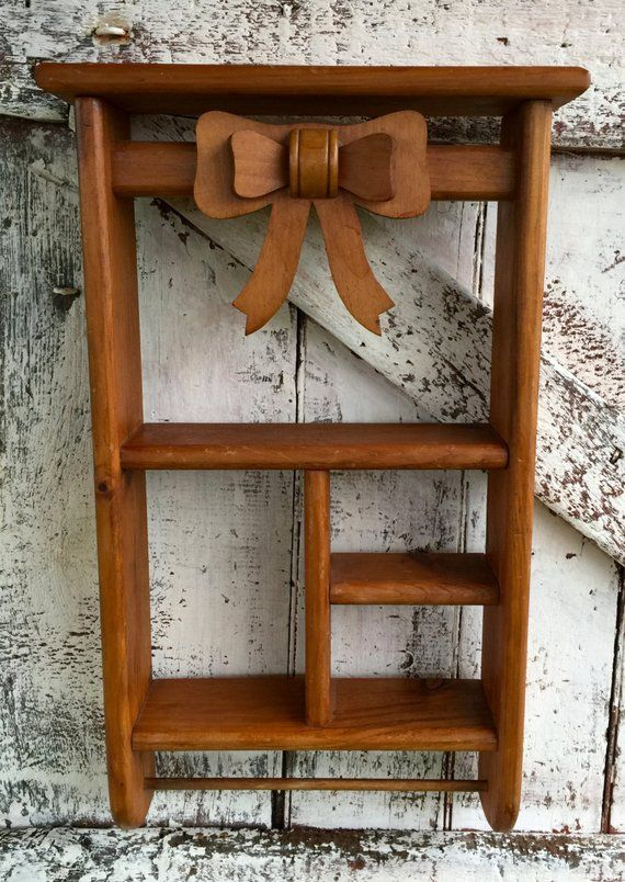 Wooden Wall Shelf with bow vintage knic knac shelf with