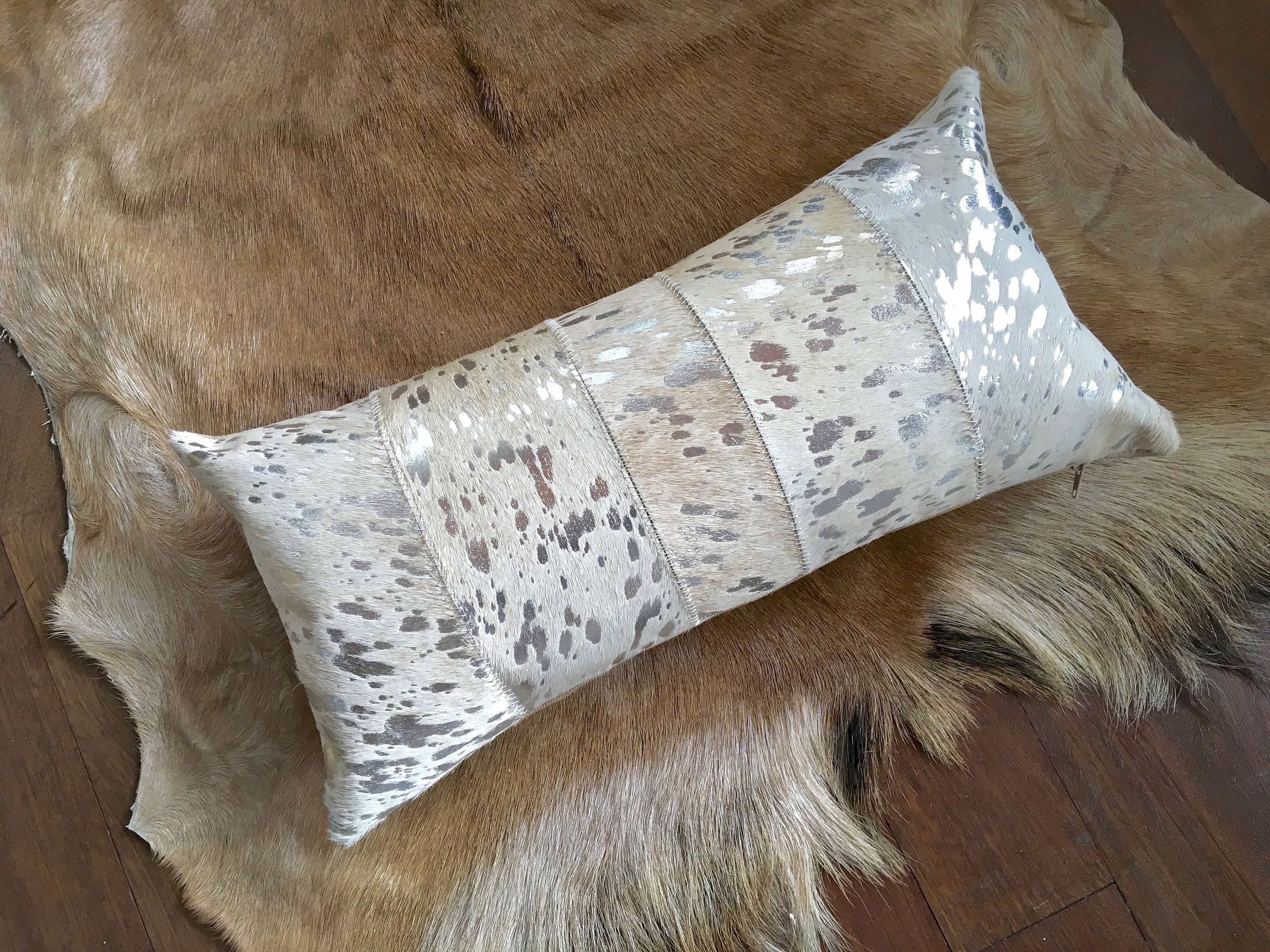 Designer Cowhide Lumbar Pillow In Beige Hair On Cowhide With