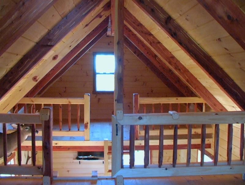 Double Lofts Trophy Amish Cabins Llc Xtreme Hunter With 3 Extra Rows 19 Row 12 12 Pitch Roof Two 12 Wide Loft Loft Railing Shed Plans Pitched Roof