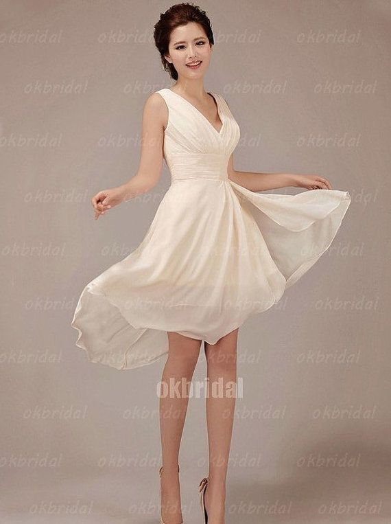 short champagne wedding dress knee length dress by