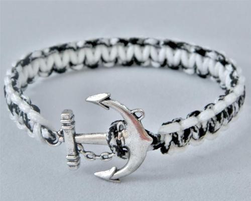 Nautical Braided Paracord Rope Bracelet Black White Silver