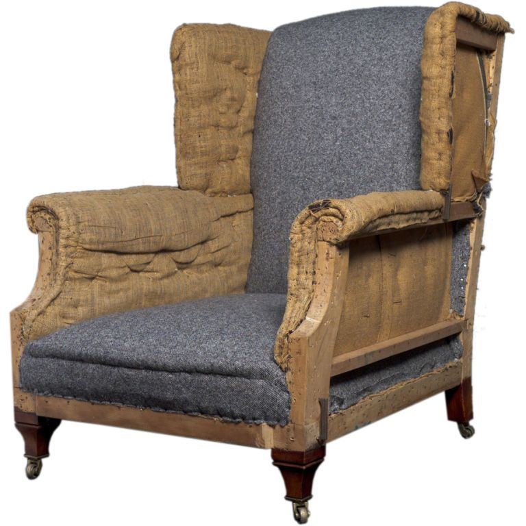 England Primitive Roll Arm Wing Back Lounge Chair With Seat
