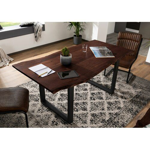 Photo of Dining table Freeform Massivmoebel24 Color (table frame): Black, Color (table top): Rustic, Size: 76 cm H x 90 cm W x 140 cm L