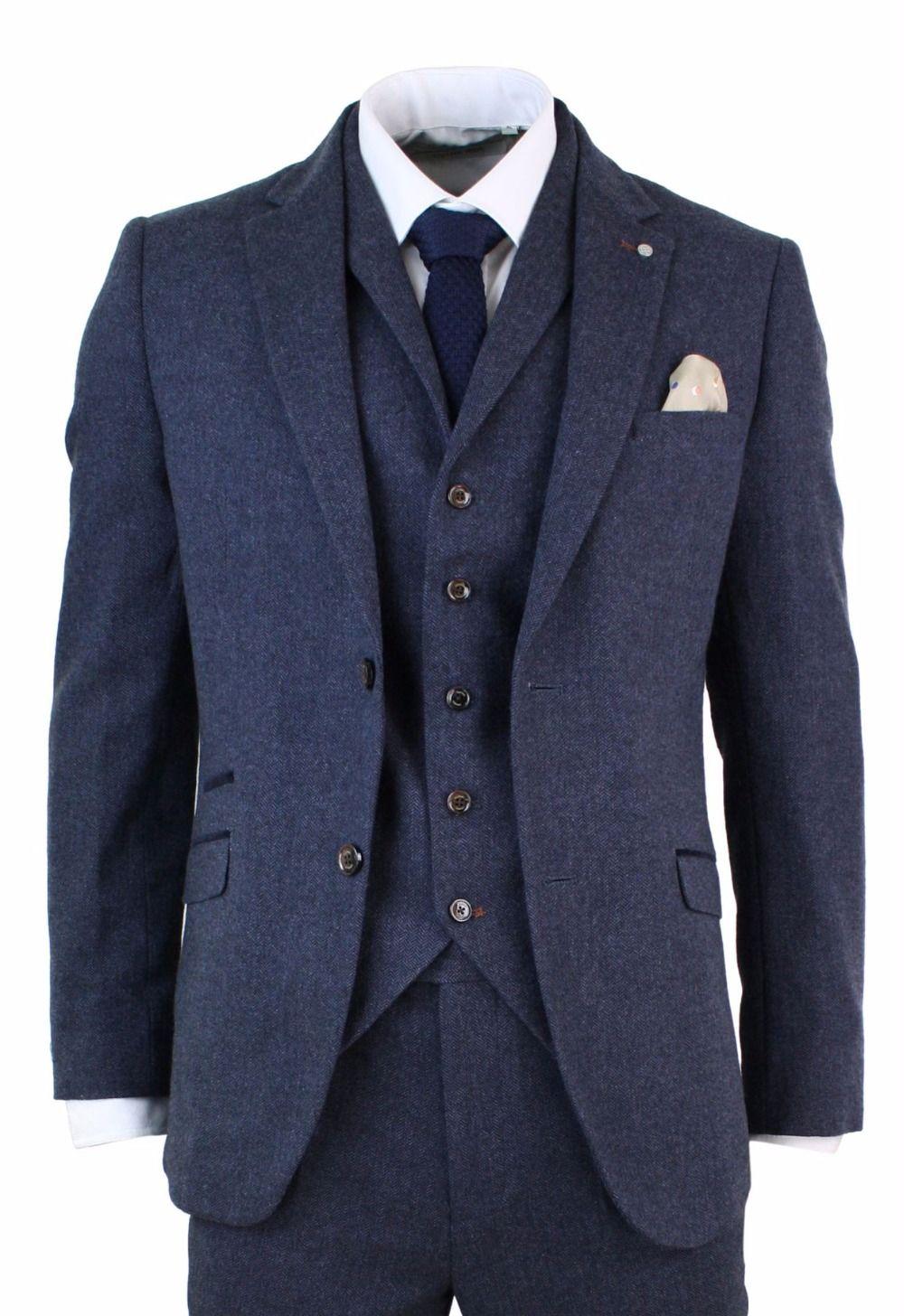 Men/'s Blue 3Piece Classic Vintage Slim Fit Tweed Suits Wedding Suit Custom 36-52