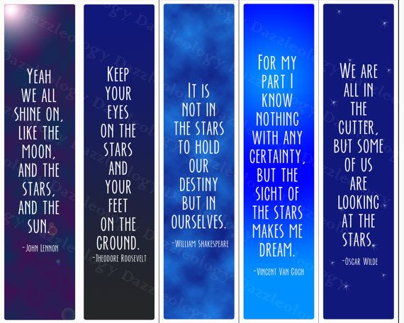 picture regarding Free Printable Bookmarks With Quotes named Printable Inspirational Star Prices Bookmarks by way of Dazzleology